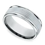 Multi Milgrain Men's Wedding Ring in White Gold | Thumbnail 01