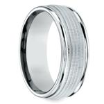 Multi Milgrain Men's Wedding Ring in White Gold | Thumbnail 02