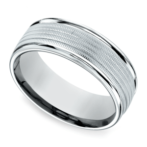 Multi Milgrain Men's Wedding Ring in White Gold