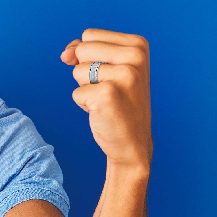Multi Milgrain Men's Wedding Ring in White Gold   04