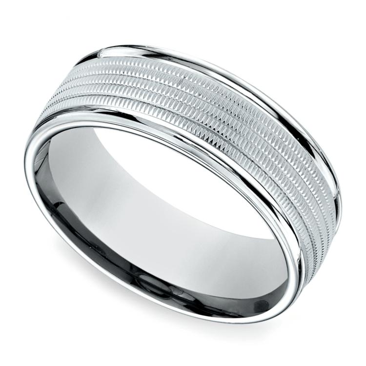 Multi Milgrain Men's Wedding Ring in White Gold | 01