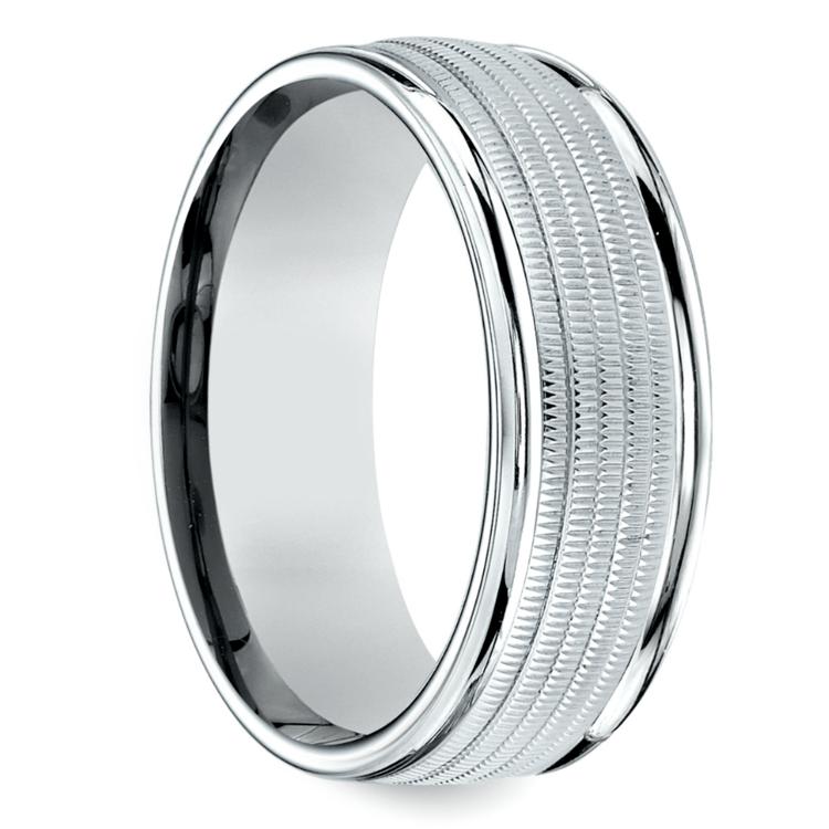 Multi Milgrain Men's Wedding Ring in White Gold | 02