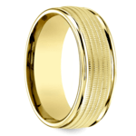 Multi Milgrain Men's Wedding Ring in Yellow Gold | Thumbnail 02
