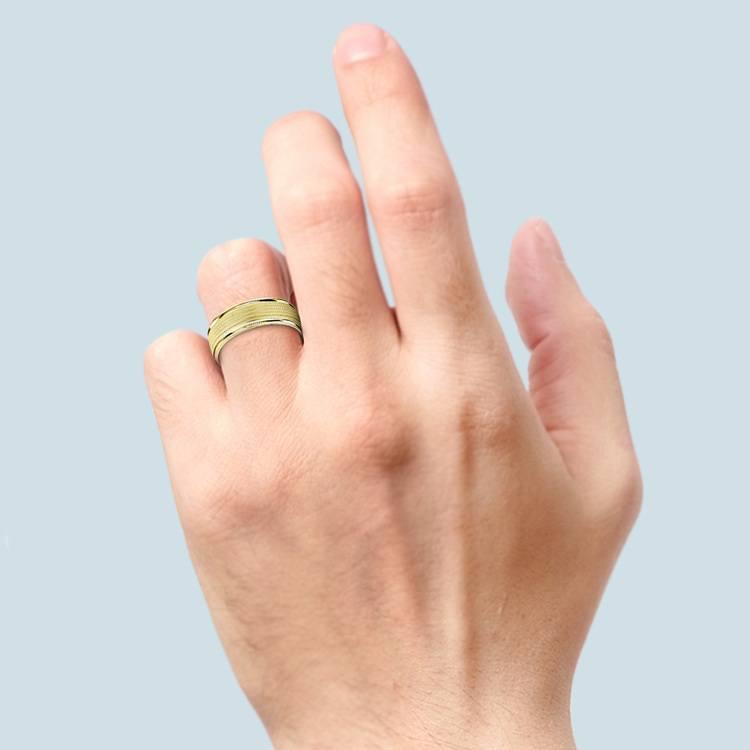 Multi Milgrain Men's Wedding Ring in Yellow Gold | 03