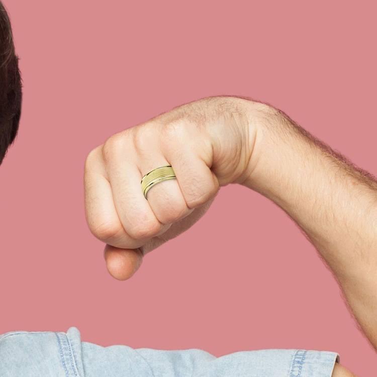 Multi Milgrain Men's Wedding Ring in Yellow Gold | 04