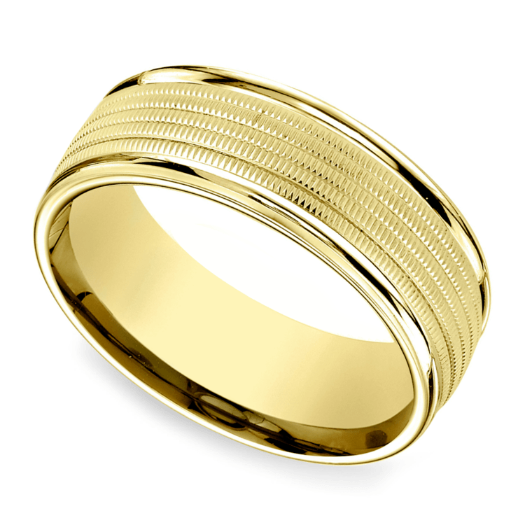 Multi Milgrain Men's Wedding Ring in Yellow Gold | 01