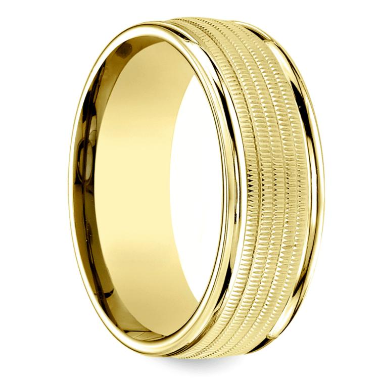 Multi Milgrain Men's Wedding Ring in Yellow Gold | 02