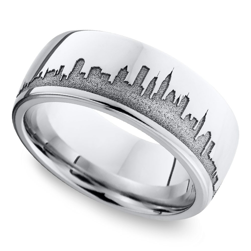 New York Skyline Men's Wedding Ring In Cobalt
