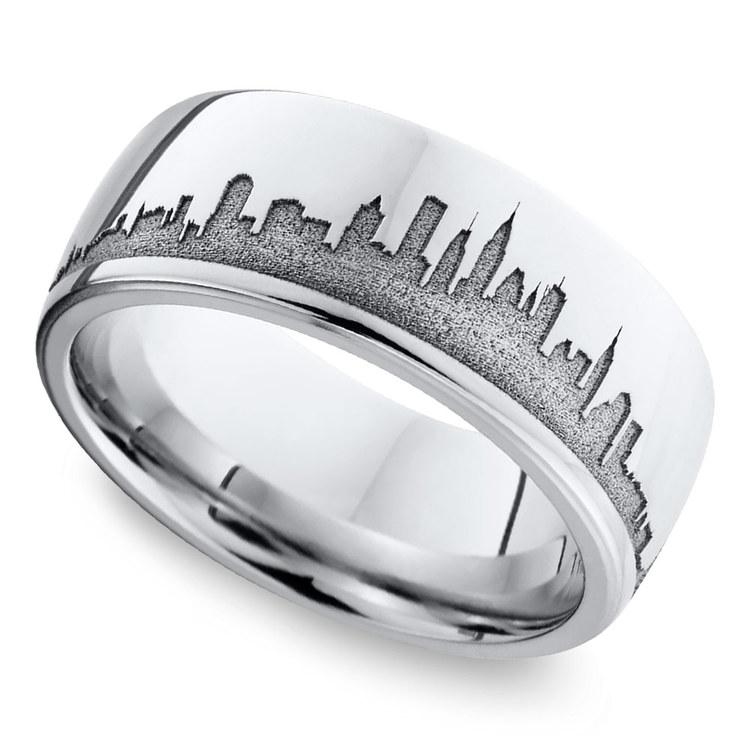 New York Skyline Men's Wedding Ring in Cobalt | 01