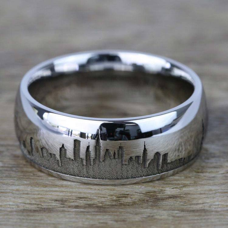 New York Skyline Men's Wedding Ring in Cobalt | 03