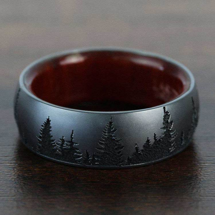 Night - Forest Pattern Zirconium Mens Band | 06