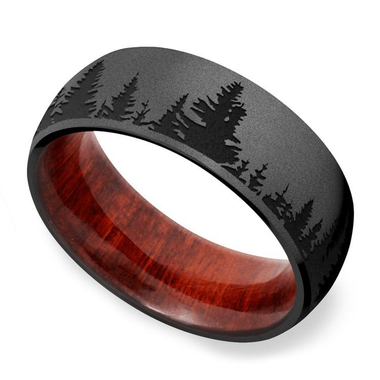 Night - Forest Pattern Zirconium Mens Band | 01