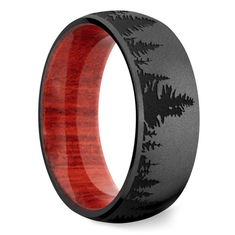 Night - Forest Pattern Zirconium Mens Band | 02