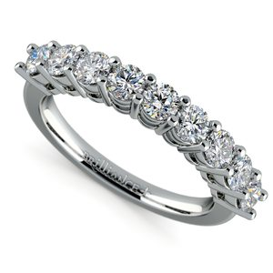 Nine Diamond Wedding Ring in White Gold (1 ctw)