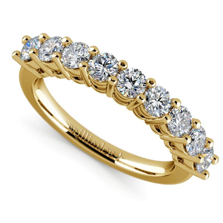 Nine Diamond Wedding Ring in Yellow Gold (1 ctw) | 01