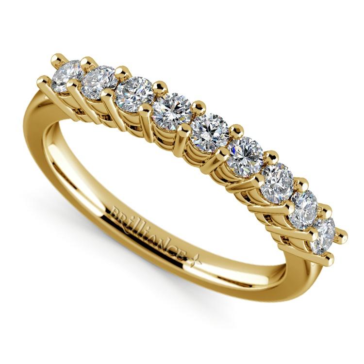 Nine Diamond Wedding Ring in Yellow Gold (1/2 ctw) | 01