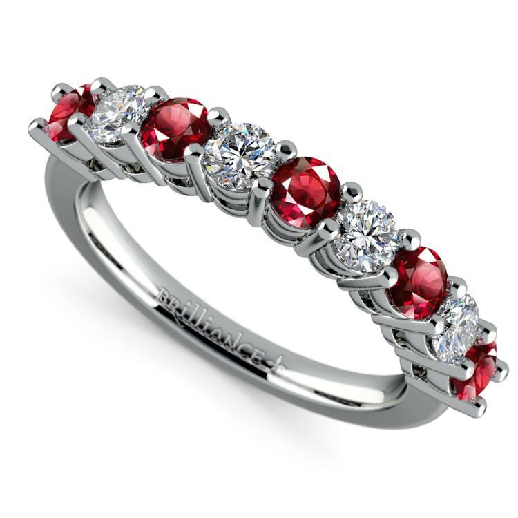 Nine Diamond & Ruby Wedding Ring in White Gold | 01
