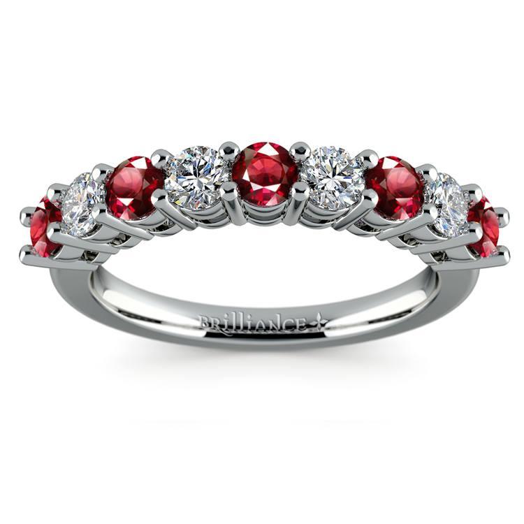 Nine Diamond & Ruby Wedding Ring in White Gold | 02