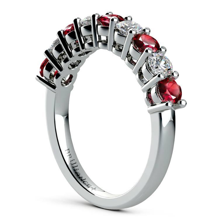 Nine Diamond & Ruby Wedding Ring in White Gold | 04