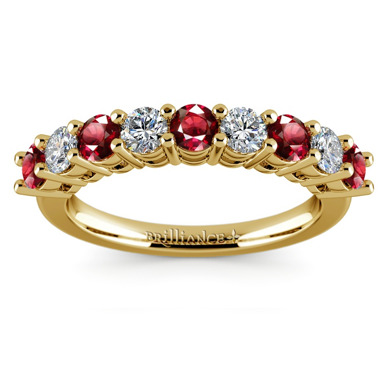 Nine Diamond & Ruby Wedding Ring in Yellow Gold | 02
