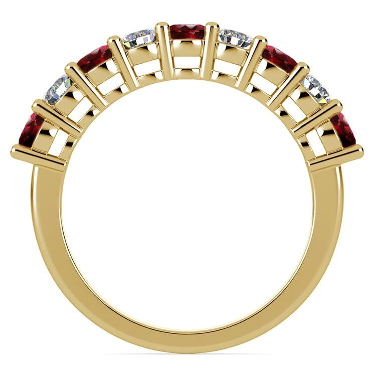 Nine Diamond & Ruby Wedding Ring in Yellow Gold | 03