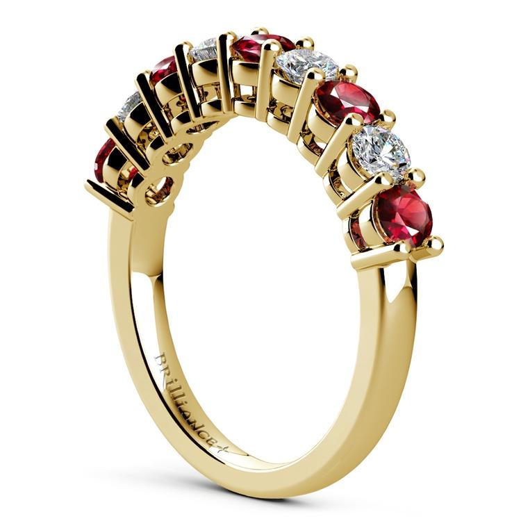 Nine Diamond & Ruby Wedding Ring in Yellow Gold | 04