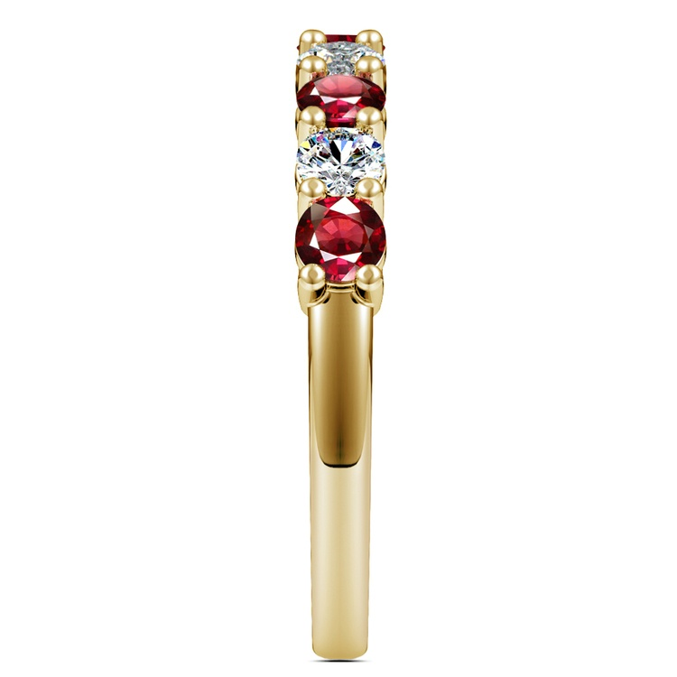 Nine Diamond & Ruby Wedding Ring in Yellow Gold | 05