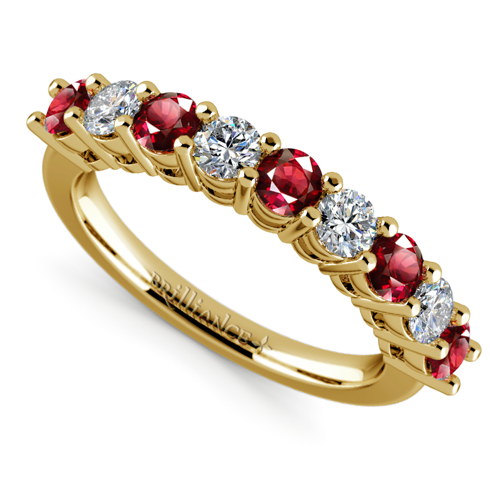 Nine diamond ruby wedding ring in yellow gold for Ruby wedding band rings
