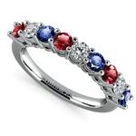 Nine Diamond & Gemstone Ring in White Gold | Thumbnail 01