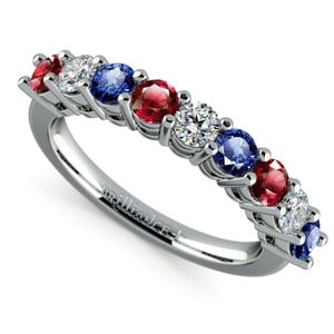 Nine Diamond & Gemstone Ring in White Gold