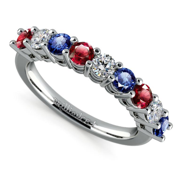 Nine Diamond & Gemstone Ring in White Gold | 01
