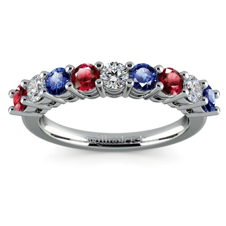 Nine Diamond & Gemstone Ring in White Gold | 02