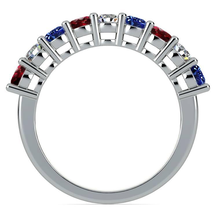 Nine Diamond & Gemstone Ring in White Gold | 03