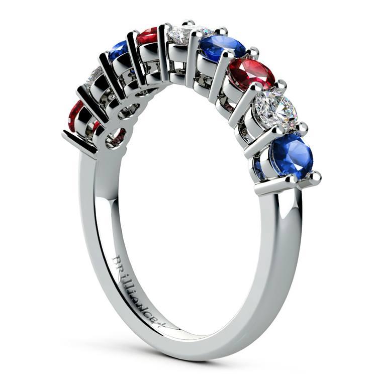Nine Diamond & Gemstone Ring in White Gold | 04