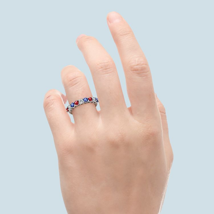 Nine Diamond & Gemstone Ring in White Gold | 06