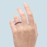 Nine Ruby Stone Ring In White Gold | Thumbnail 06