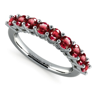 Nine Ruby Gemstone Ring in White Gold