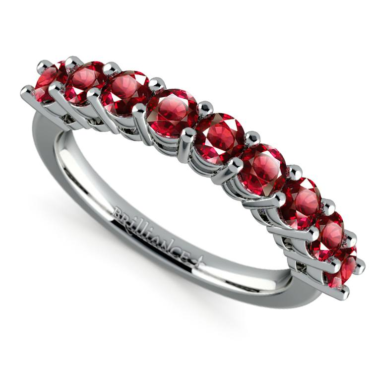 Nine Ruby Gemstone Ring in White Gold | 01