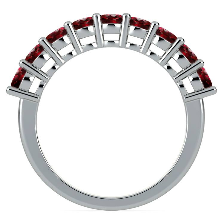 Nine Ruby Gemstone Ring in White Gold | 03