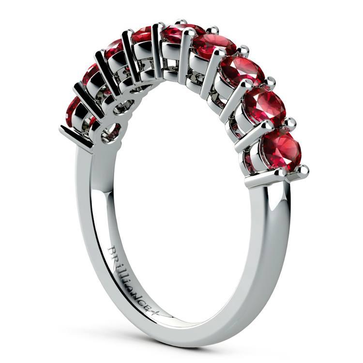 Nine Ruby Gemstone Ring in White Gold | 04
