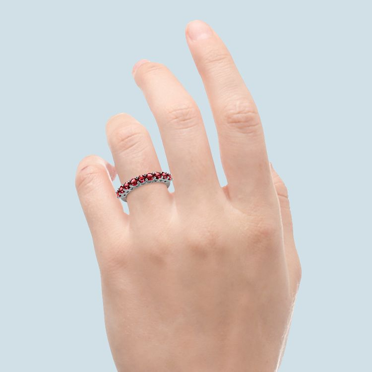 Nine Ruby Stone Ring In White Gold | 06