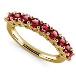 Nine Ruby Gemstone Ring in Yellow Gold | Thumbnail 01