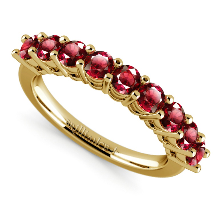 Nine Ruby Gemstone Ring in Yellow Gold | 01