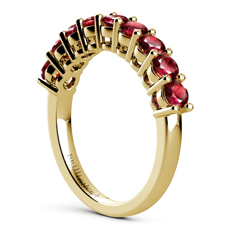 Nine Ruby Gemstone Ring in Yellow Gold | 04