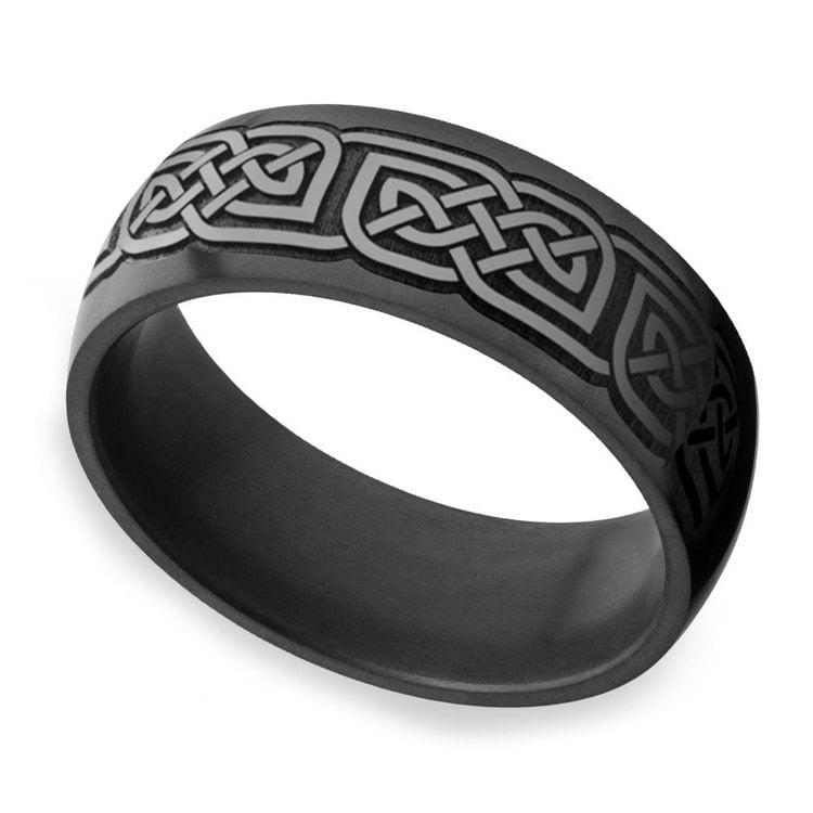 Nyx - Polished Celtic Design Mens Elysium Wedding Band | 01