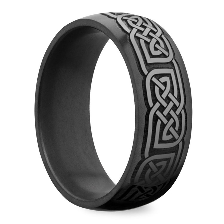 Nyx - Polished Celtic Design Mens Elysium Wedding Band | 02