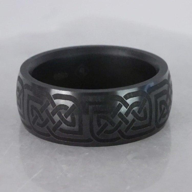 Nyx - Polished Celtic Design Mens Elysium Wedding Band | 06