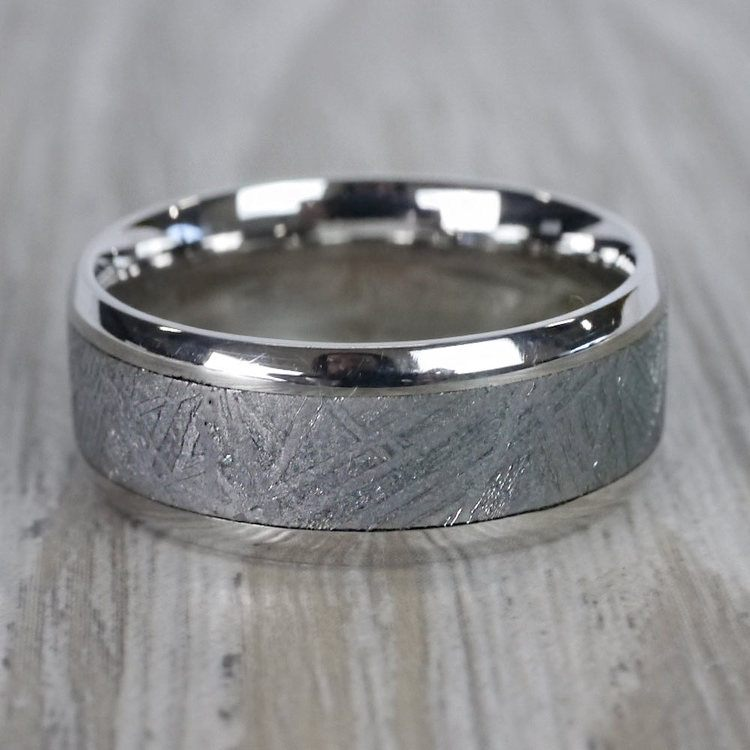 Observer - Beveled Palladium Mens Band with Meteorite Inlay | 05