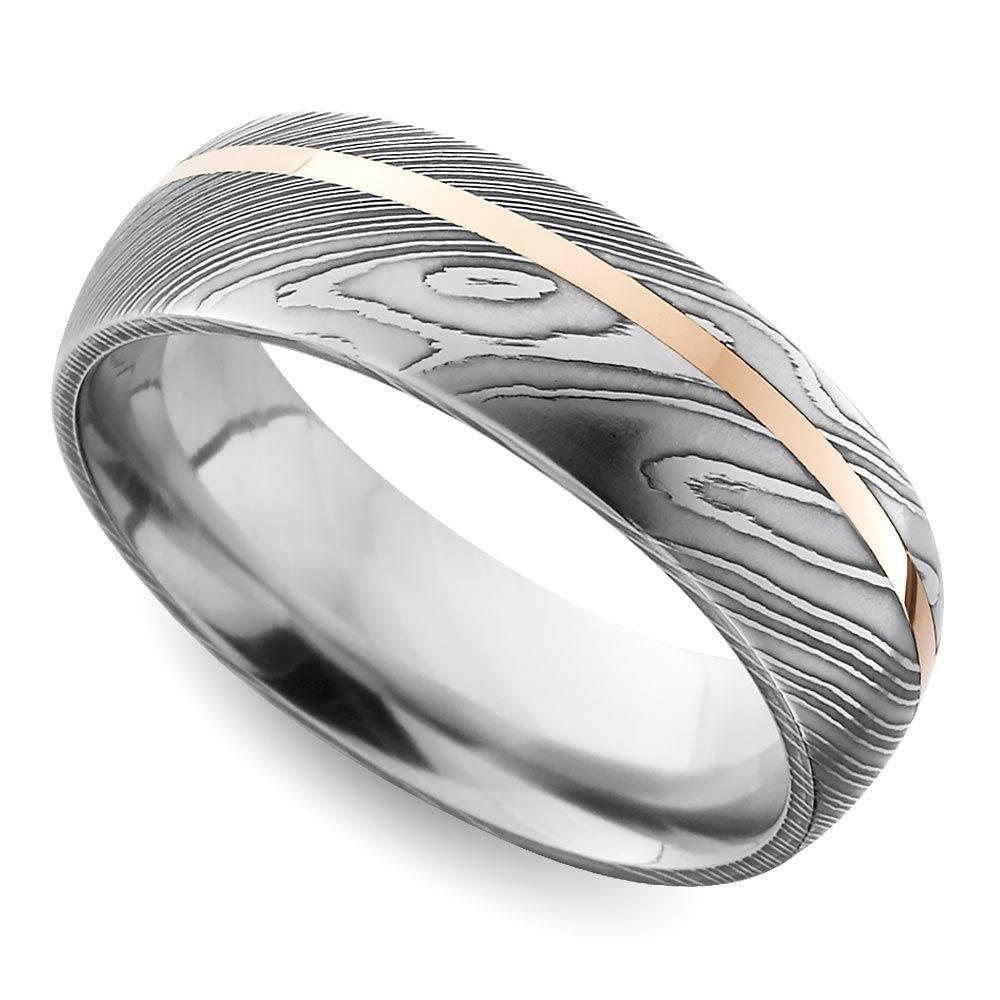 offset rose inlay domed mens wedding ring in damascus steel - Damascus Wedding Ring