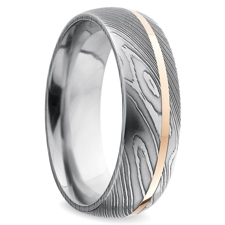 Offset Rose Inlay Domed Mens Wedding Ring In Damascus Steel